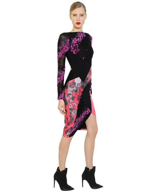 Antonio Berardi - Black Floral Flocked Lace & Scuba Dress - Lyst