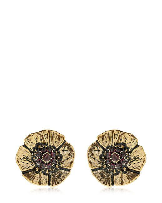 Alcozer & J - Metallic Cloe Clip-on Earrings With Garnets - Lyst