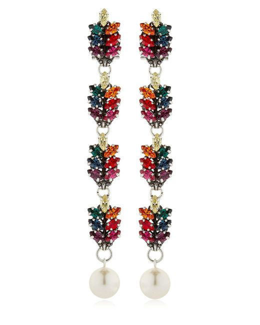 Anton Heunis - Multicolor Long Tiny Leaf Drop Earrings - Lyst