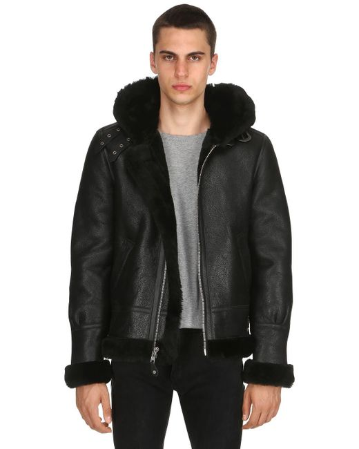 Schott Nyc - Black Lc 1259 Aviator Hooded Shearling Jacket for Men - Lyst