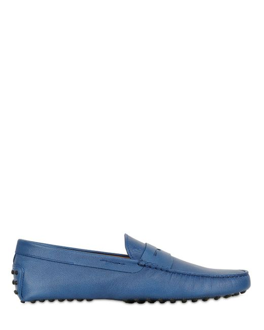 Tod's   Blue Gommino Embossed Leather Driving Shoes for Men   Lyst
