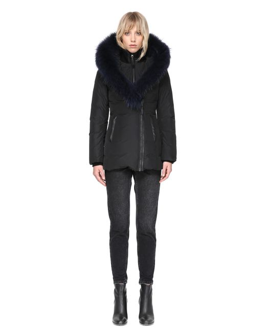 Mackage | Adali-f Fitted Winter Down Coat With Fur Hood In Black/navy | Lyst