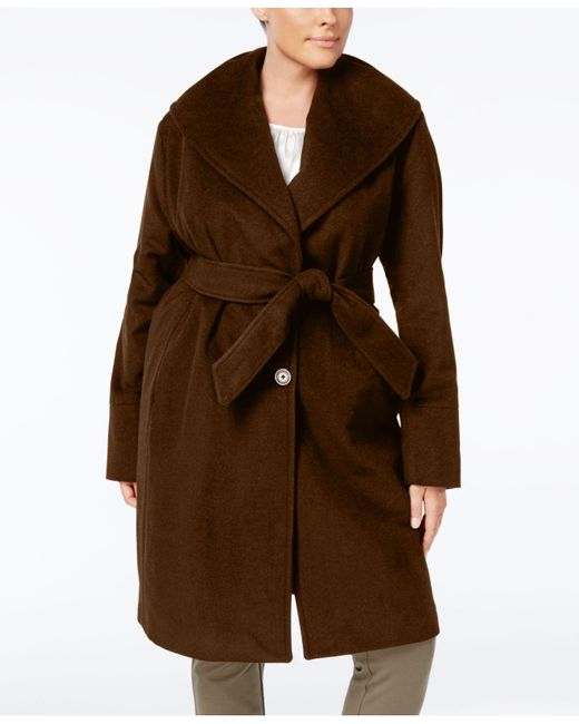 Jones New York | Brown Plus Size Asymmetrical Belted Coat | Lyst
