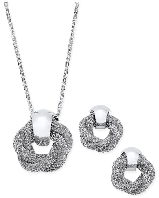 Charter Club - Metallic Silver-tone Twisted Knot Pendant Necklace And Earrings Set - Lyst