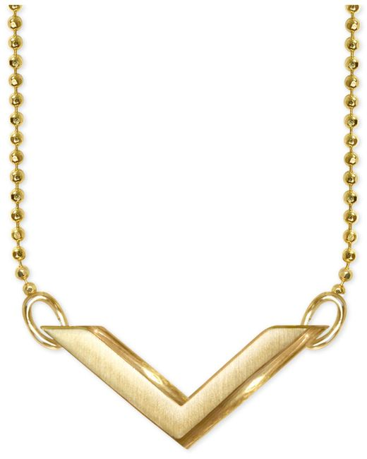 "Alex Woo | Metallic ""v"" Pendant Necklace In 14k Gold | Lyst"