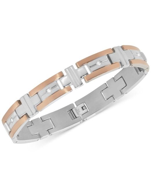 Macy's   Metallic Men's Diamond Two-tone Bracelet (1/10 Ct. T.w.) In Stainless Steel And Rose Gold Ion-plated Stainless Steel for Men   Lyst