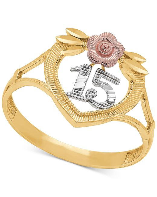 "Macy's - Metallic Tricolor Quinceañera ""15"" Rose Openwork Ring In 14k Gold, Rose Gold & Rhodium Plate - Lyst"