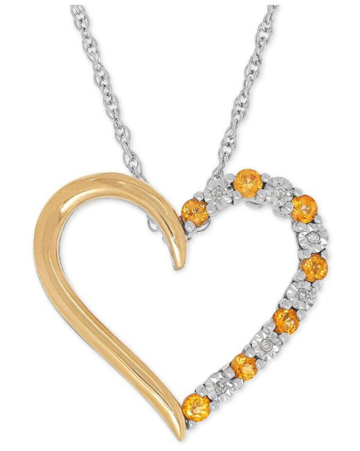 Macy's - Metallic Citrine (1/4 Ct. T.w.) And Diamond Accent Heart Pendant Necklace In Sterling Silver And 14k Gold - Lyst