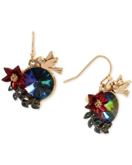 Betsey Johnson | Metallic Gold-tone Multi-stone Bird & Flower Drop Earrings | Lyst