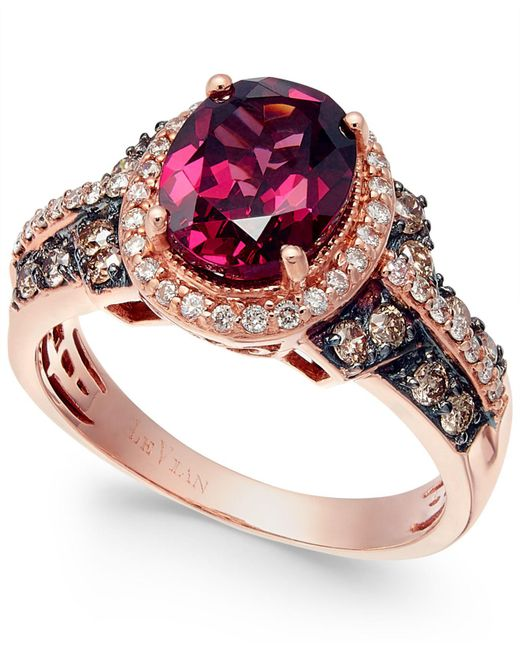 Le Vian - Metallic Raspberry Rhodolite Chocolate And White Diamond Oval Ring (2-3/4 Ct. T.w.) In 14k Rose Gold - Lyst