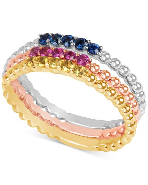 Macy's | Metallic Multi-sapphire (1/8 Ct. T.w.) Tri-tone 3-pc. Set Stacking Rings In 14k White, Yellow, And Rose Gold | Lyst