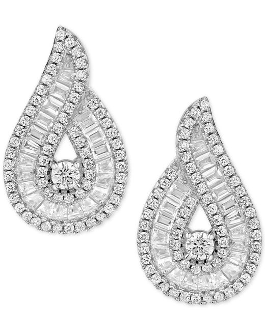 Macy's - Metallic Cubic Zirconia Baguette Swirl Drop Earrings In Sterling Silver - Lyst