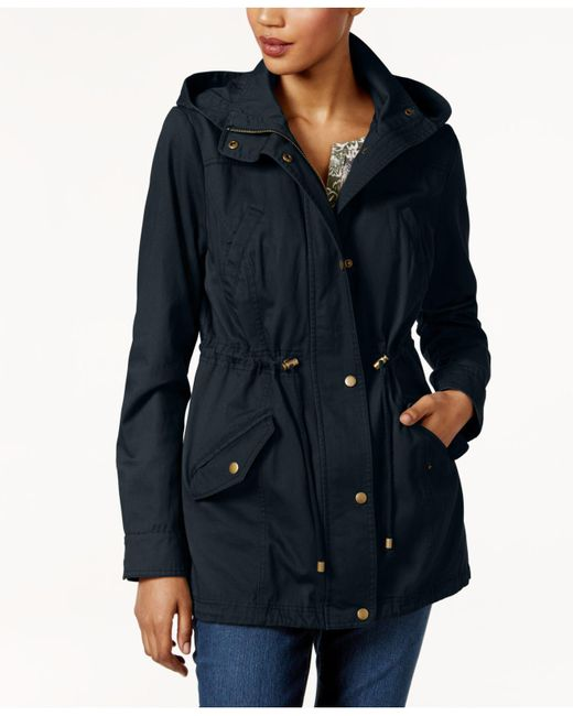 Style & Co. | Blue Petite Cotton Hooded Utility Jacket | Lyst