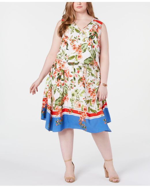 0921ad59728 Tommy Hilfiger - Multicolor Plus Size Printed Sleeveless Dress, Created For  Macy's ...