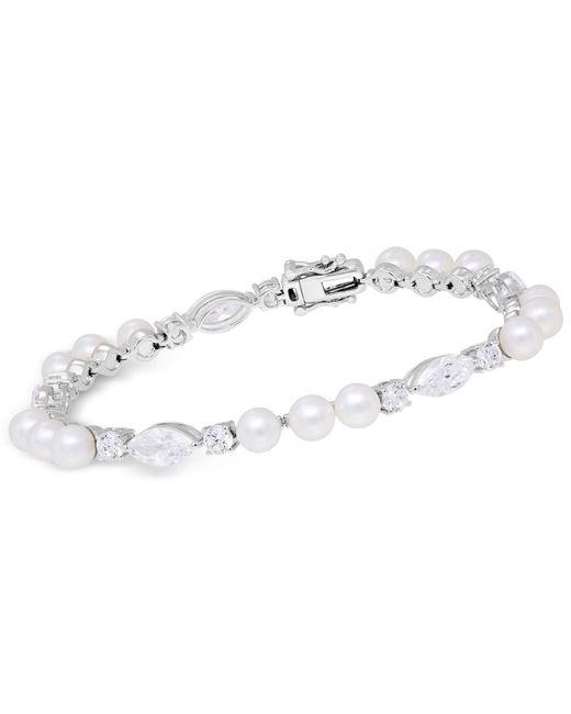Arabella - Metallic Cultured Freshwater Pearl (5mm) & Swarovski Zirconia Bracelet In Sterling Silver - Lyst