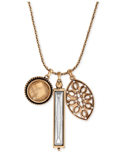 Lucky Brand - Metallic Gold-tone Crystal And Cutout Charm Necklace - Lyst