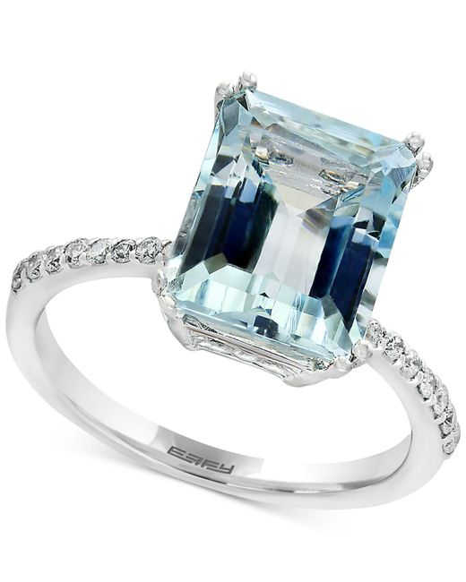 Effy Collection | Blue Aquamarine (3-3/4 Ct. T.w.) And Diamond (1/6 Ct. T.w.) Ring In 14k White Gold | Lyst