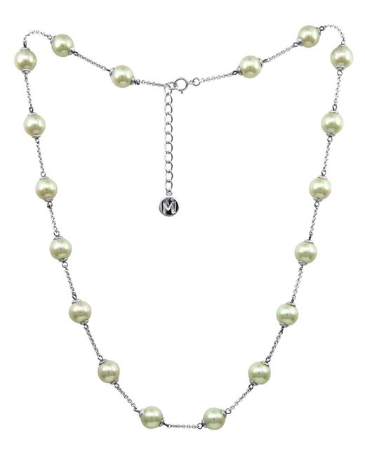 Majorica - Metallic Sterling Silver Necklace, Imitation Pearl Illusion - Lyst