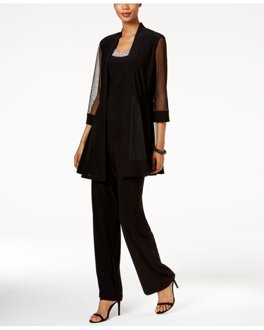 R & M Richards - Black Embellished Layered-look Pantsuit - Lyst