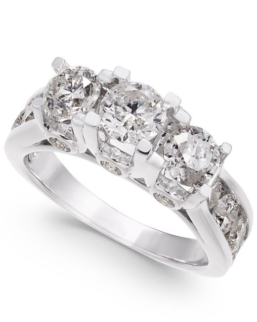 Macy's - Metallic Diamond Ring In 14k White Gold (3 Ct. T.w.) - Lyst