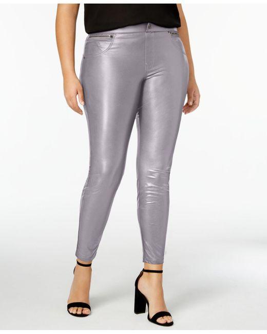 Hue | Gray Women's Plus Size Faux Leatherette Leggings | Lyst