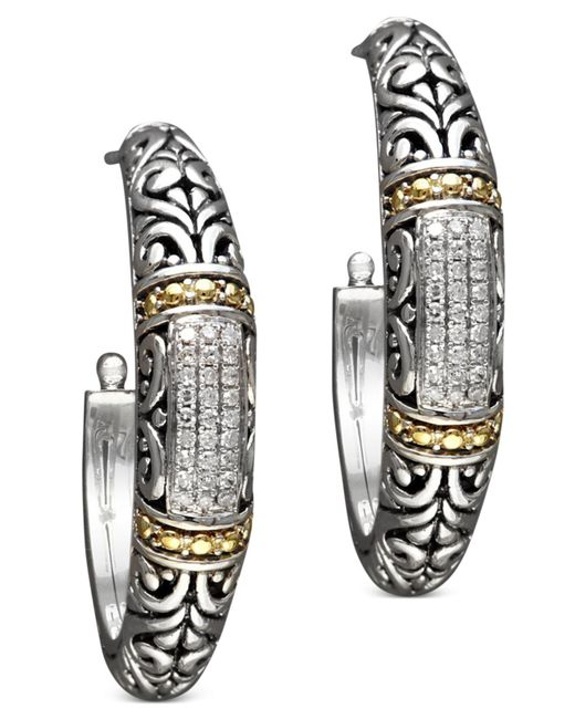 Effy Collection | Metallic Diamond Hoop Earrings (1/4 Ct. T.w.) In 18k Gold And Sterling Silver | Lyst