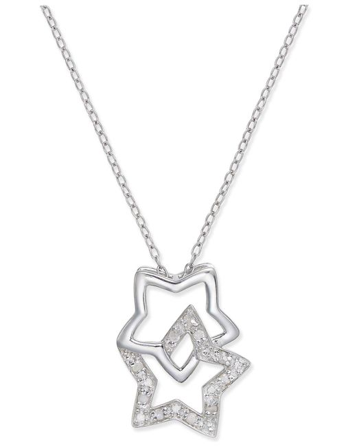 Macy's - Metallic Diamond Double Star Pendant Necklace (1/10 Ct. T.w.) In Sterling Silver - Lyst