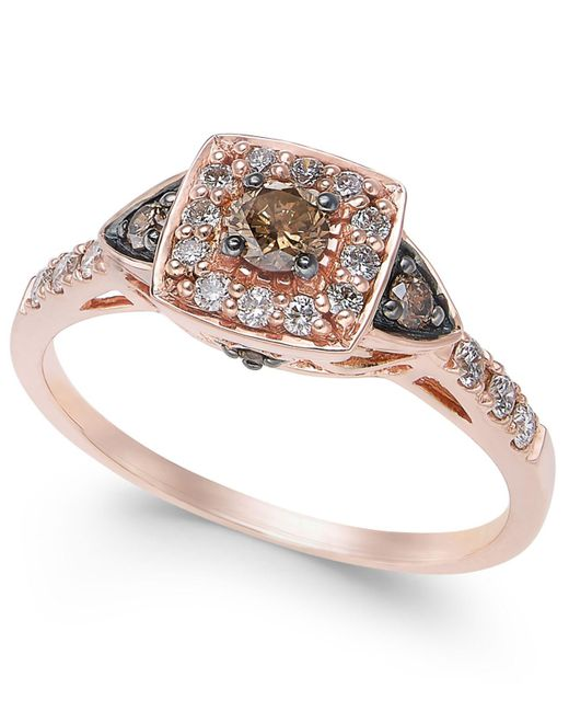 Le Vian - Metallic Chocolate By Petite Chocolate And White Diamond Ring (3/8 Ct. T.w.) In 14k Rose Gold - Lyst