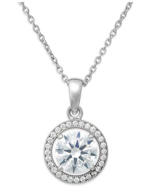 Giani Bernini - Metallic Cubic Zirconia Halo Pendant Necklace In Sterling Silver - Lyst