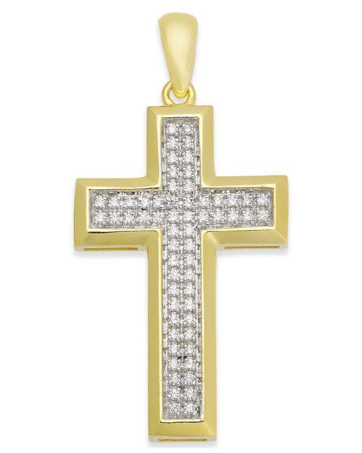 Macy's | Metallic Men's Diamond Cross Pendant (1/4 Ct. T.w.) In 10k Gold | Lyst