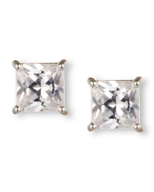 Nine West | Metallic Earrings, Silver-tone Princess-cut Crystal Stud Earrings | Lyst