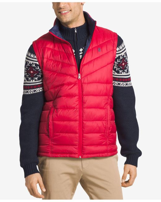 Izod - Red Men's Apex Quilted Full-zip Puffer Vest for Men - Lyst