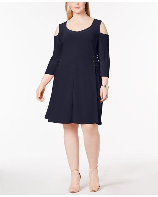 Love Scarlett - Blue Plus Size Cold-shoulder Lace-up Dress - Lyst