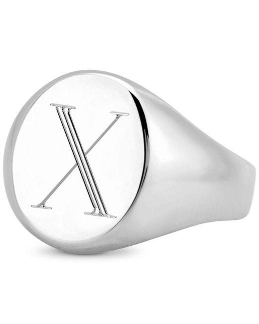 Sarah Chloe - Metallic Initial Signet Ring In Sterling Silver - Lyst