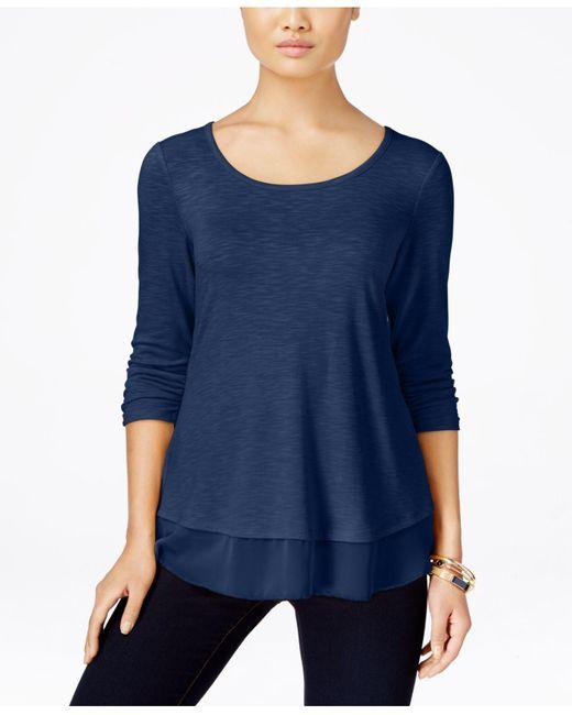 Style & Co.   Blue Chiffon-hem Three-quarter-sleeve Top   Lyst