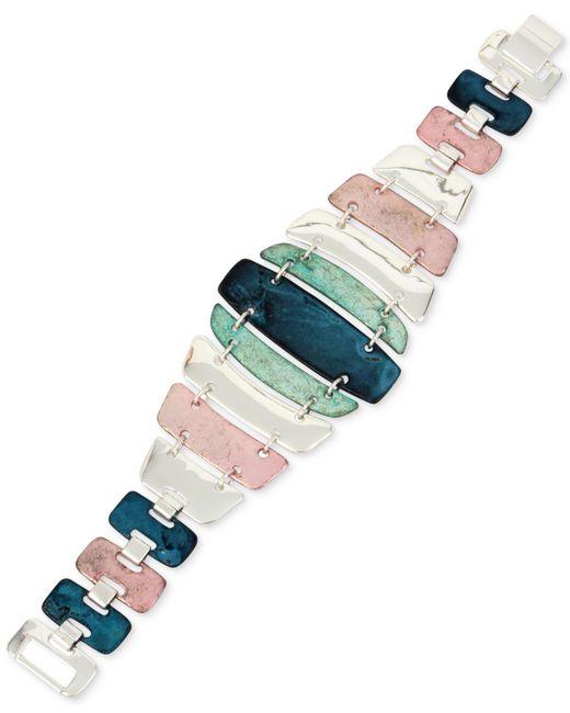 Robert Lee Morris - Multicolor Silver-tone Multi-stone Flex Bracelet - Lyst