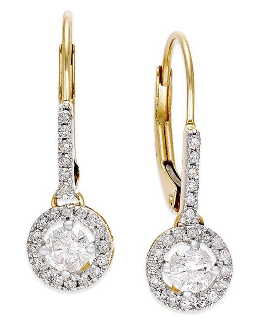 Macy's | Metallic Diamond Round Drop Earrings In 14k White Gold (1/2 Ct. T.w.) | Lyst