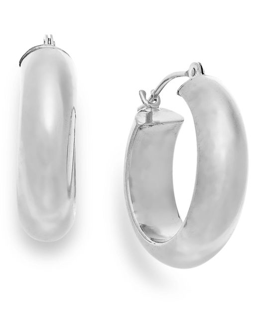 Macy's - Wide Hoop Earrings In 10k White Gold - Lyst