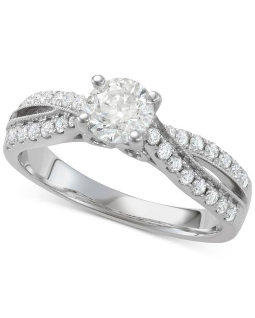 Macy's - Metallic Diamond Twist Engagement Ring (1-1/7 Ct. T.w.) In 14k White Gold - Lyst