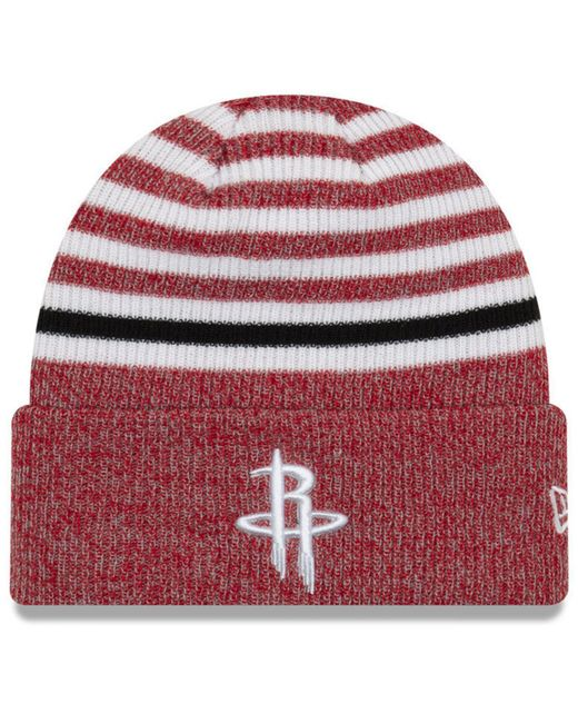 official photos 34e96 b57f0 ... beanie rocketsshop 27a23 a7122 where to buy ktz red houston rockets  striped cuff knit hat for men lyst e5ac3 c601e ...
