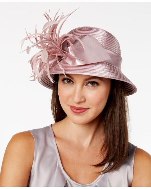 August Accessories | Pink Satin-striped Feather & Bow Cloche | Lyst