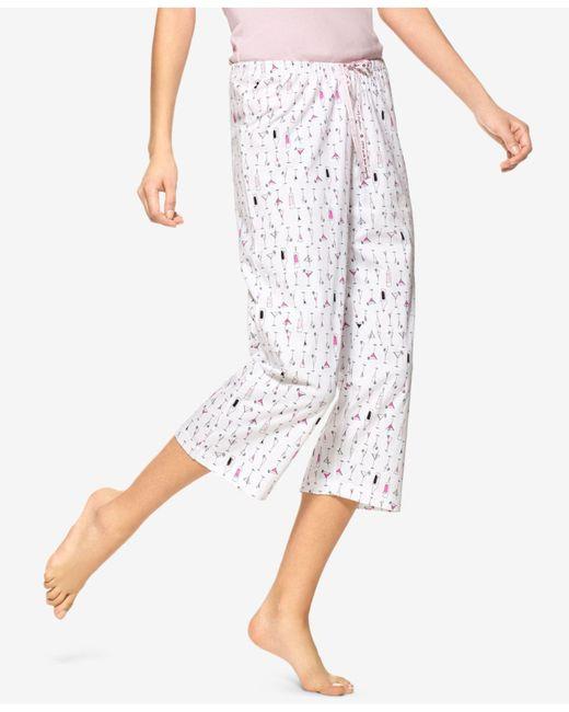 Hue - White ® Martini-print Cotton Capri Pajama Pants - Lyst