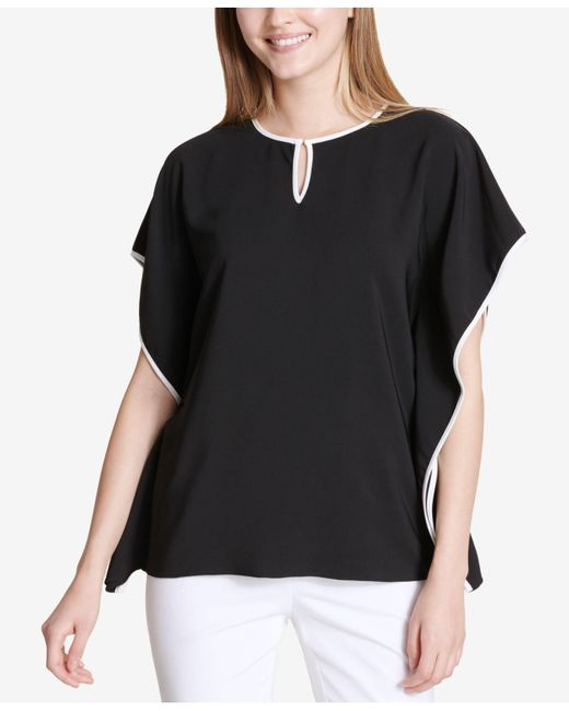 Calvin Klein - Black Colorblocked Caftan Top - Lyst