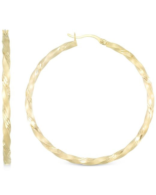 Macy's Metallic Twisted Satin Finished Round Hoop Earrings In 14k Gold Over Sterling Silver