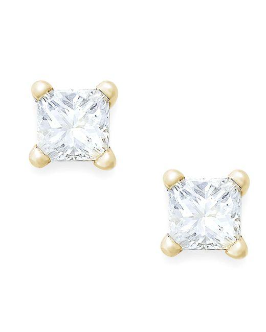 Macy's - Metallic Princess-cut Diamond Earrings In 10k Gold (1/10 Ct. T.w.) - Lyst