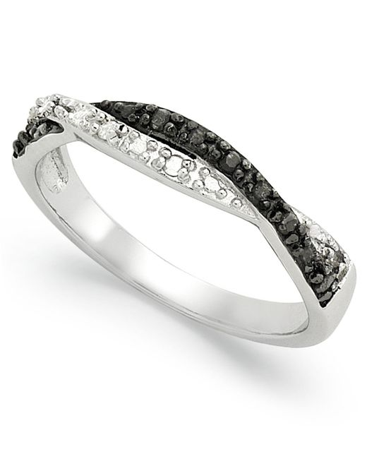 Macy's - Metallic Sterling Silver Ring, Black And White Diamond Weave Ring (1/10 Ct. T.w.) - Lyst