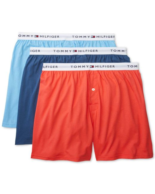 d97553411c057d Tommy Hilfiger - Multicolor 3-pk. Classic Knit Cotton Boxers for Men - Lyst  ...