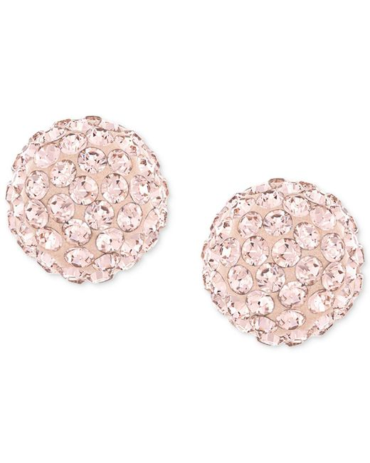 Swarovski - Pink Rose-gold-plated Crystal Stud Earrings - Lyst