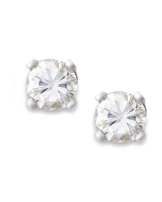 Macy's | Metallic Round-cut Diamond Earrings In 10k Gold (1/6 Ct. T.w.) | Lyst