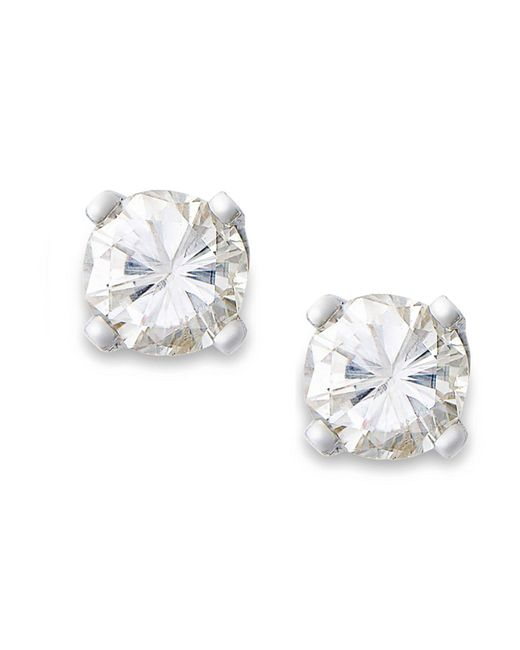 Macy's - White Round-cut Diamond Earrings In 10k Gold (1/6 Ct. T.w.) - Lyst